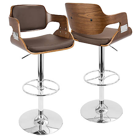 LumiSource Fiore Bar Stool, Walnut/Brown