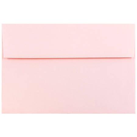 "JAM Paper® Booklet Invitation Envelopes, A8, 5 1/2"" x 8 1/8"", Light Baby Pink, Pack Of 25"
