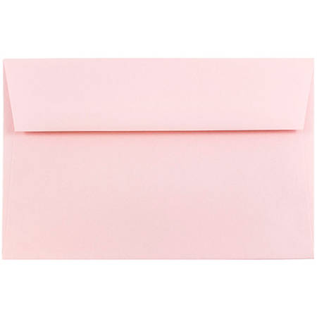 "JAM Paper® Booklet Invitation Envelopes, A9, 5 3/4"" x 8 3/4"", Light Baby Pink, Pack Of 25"