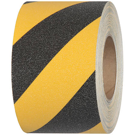 "Tape Logic® Heavy-Duty Antislip Tape, 3"" Core, 2"" x 60', Black/Yellow"