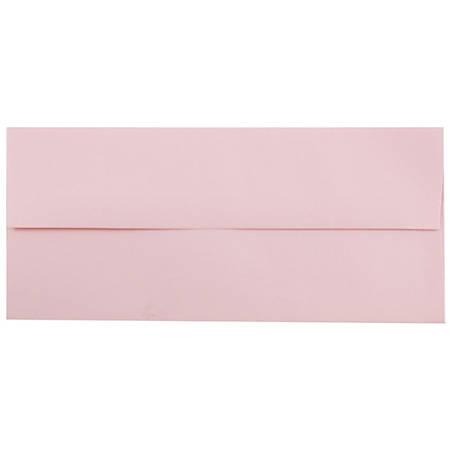 "JAM Paper® Booklet Envelopes With Gummed Closure, #10, 4 1/8"" x 9 1/2"", Light Baby Pink, Pack Of 25"