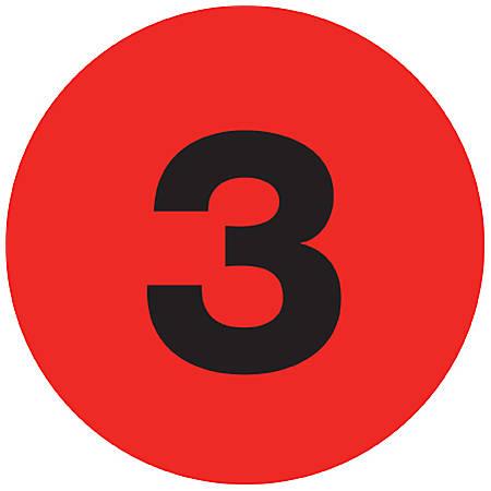 "Tape Logic® Fluorescent Red - ""3"" Number Labels 1"", DL6753, Roll of 500"