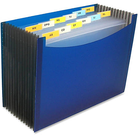 "C-Line 13-Pocket Polypropylene Expanding File With 12 Dividers, 9"" Expansion, Letter Size, Blue"