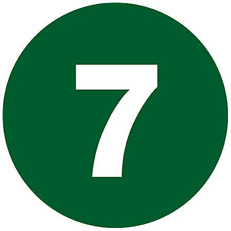 """Tape Logic® Dark Green - """"7"""" Number Labels 1"""", DL6757, Roll of 500"""