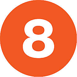 Tape Logic Orange 8 Number Labels