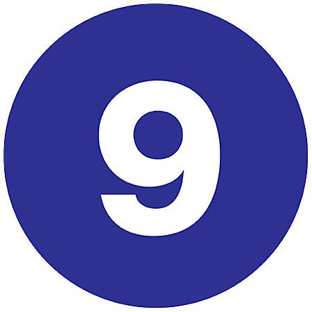 """Tape Logic® Dark Blue - """"9"""" Number Labels 1"""", DL6759, Roll of 500"""