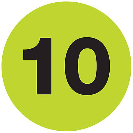 "Tape Logic® Fluorescent Green - ""10"" Number Labels 1"", DL6760, Roll of 500"