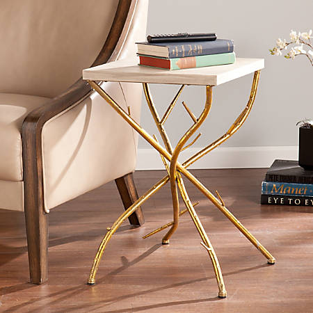 Southern Enterprises Nymeria Branch Accent Table, Square, Antique Gold/Weathered White