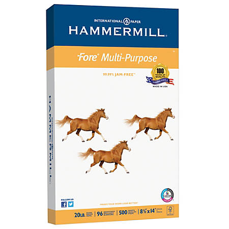 Hammermill® Fore Multipurpose Paper, Legal Size Paper, 20 Lb, White, Ream Of 500 Sheets