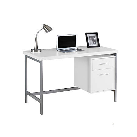 Monarch Specialties Contemporary Computer Desk, 2-Drawers, White/Silver