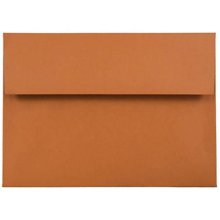 "JAM Paper® Booklet Invitation Envelopes, A7, 5 1/4"" x 7 1/4"", Dark Orange, Pack Of 25"