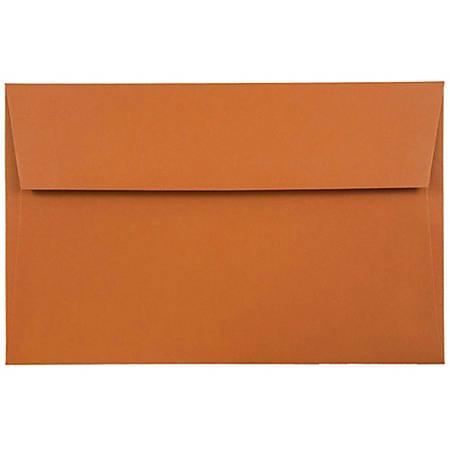 "JAM Paper® Booklet Invitation Envelopes, A8, 5 1/2"" x 8 1/8"", Dark Orange, Pack Of 25"