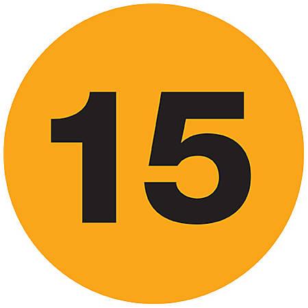 """Tape Logic® Fluorescent Orange - """"15"""" Number Labels 1"""", DL6767, Roll of 500"""