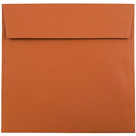 "JAM Paper® Color Square Invitation Envelopes, 6"" x 6"", Dark Orange, Pack Of 25"