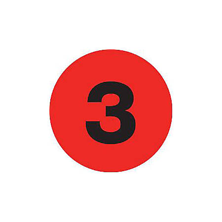 "Tape Logic® Fluorescent Red - ""3"" Number Labels 2"", DL6771, Roll of 500"