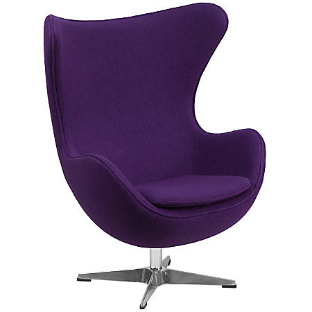 Flash Furniture Fabric Swivel Egg Chair With Tilt Lock, Purple/Gray