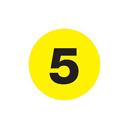 """Tape Logic® Yellow - """"5"""" Number Labels 2"""", DL6773, Roll of 500"""