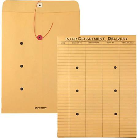 "Quality Park Standard Style Inter-Dept. Envelopes - Interoffice - 10"" Width x 13"" Length - 28 lb - String/Button - Kraft - 100 / Box - Kraft"
