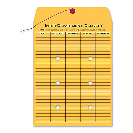 "Quality Park Inter-Department Envelopes, 10"" x 15"", 20% Recycled, Brown, Pack Of 100"