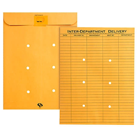 "Quality Park® Redi-Tac™ Interdepartment Envelopes, 10"" x 13"", 1-Sided Narrow Rule, Brown, Box Of 100"
