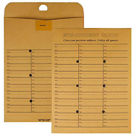 "Quality Park Double Sided Inter-Department Envelopes - Interoffice - 10"" Width x 13"" Length - 28 lb - Self-sealing - Kraft - 100 / Box - Kraft"