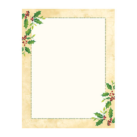 """Great Papers!® Holiday-Themed Letterhead Paper, 8 1/2"""" x 11"""", Falling Holly, Pack Of 80 Sheets"""