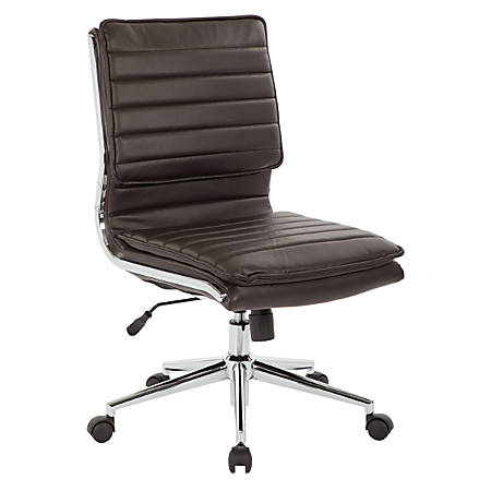 Pro-Line II™ SPX Armless Bonded Leather Mid-Back Chair, Espresso/Chrome