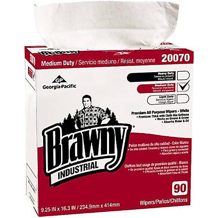 "Brawny Industrial Brawny Medium Duty All purpose Wipers - 9.25"" x 16.30"" - White - Medium Duty, Absorbent, Soft - For Multipurpose - 90 Quantity Per Box - 900 / Carton"