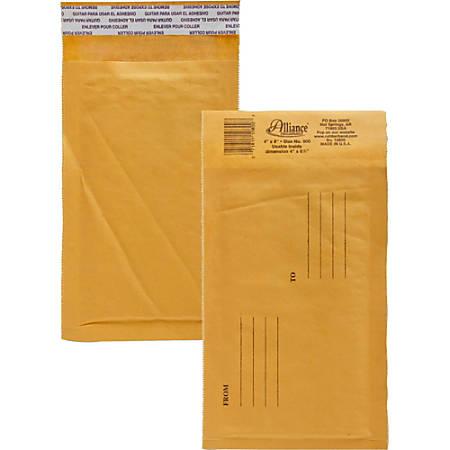 """Alliance Rubber Kraft Bubble Mailers - Bubble - #000 - 4"""" Width x 8"""" Length - Peel & Seal - Paper - 25 / Carton - Kraft"""