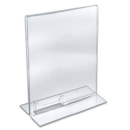 """Azar Displays Double-Foot Acrylic Sign Holders With Attached Business Card Pockets, 11"""" x 8 1/2"""", Clear, Pack Of 10"""