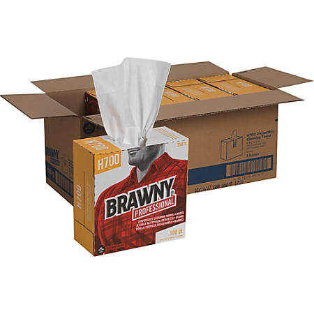 """Brawny Industrial Wipers - 9.10"""" x 16.50"""" - White - Pulp Fiber - Durable, Soft, Tear Resistant, Strong, Reusable, Low Linting, Sturdy, Abrasion Resistant, Absorbent, Chemical Resistant - For Industry - 100 Sheets Per Box - 500 / Carton"""