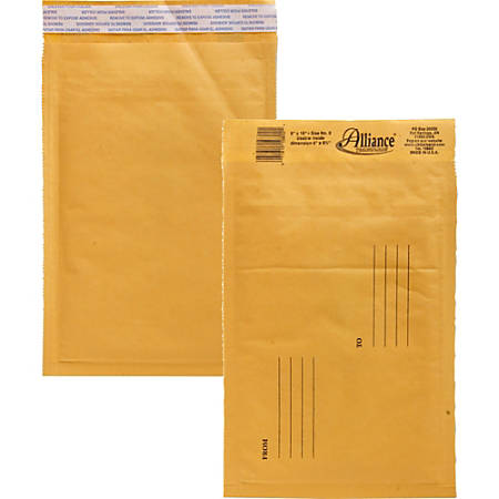 "Alliance Rubber Kraft Bubble Mailers - Bubble - #0 - 6"" Width x 10"" Length - Peel & Seal - Paper - 25 / Carton - Kraft"