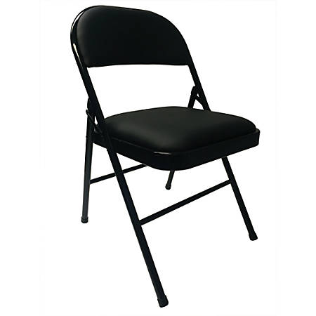 "Realspace® Vinyl Padded Folding Chair, 29-3/4""H x 18-1/2""W x 19-5/8""D, Black"
