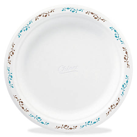 "Chinet Compostable Round Vines Plates - 8.75"" Diameter Plate - Molded Fiber Plate - Disposable - Microwave Safe - 500 Piece(s) / Carton"