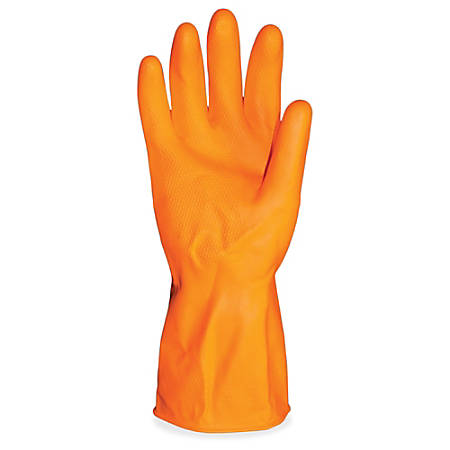 ProGuard Deluxe Flock Lined Latex Gloves - X-Large Size - Latex - Orange - Embossed Grip, Extra Heavyweight, Durable, Acid Resistant, Alcohol Resistant, Alkali Resistant, Abrasion Resistant, Tear Resistant, Long Lasting, Detergent Resistant
