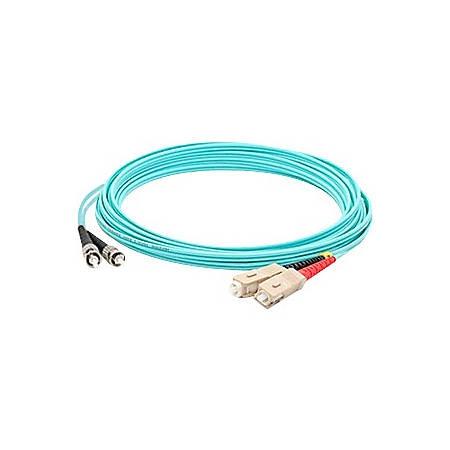 AddOn 8m SC (Male) to ST (Male) Aqua OM3 Duplex Fiber OFNR (Riser-Rated) Patch Cable
