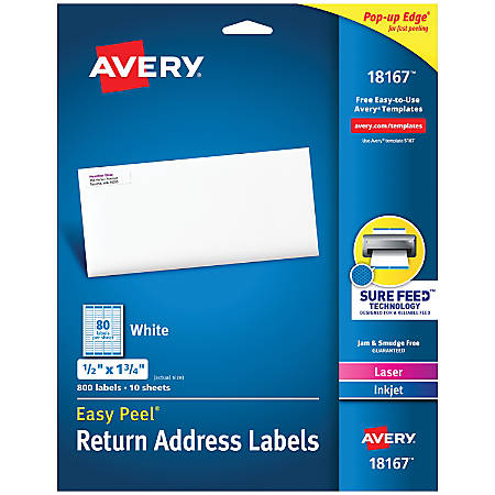 "Avery® Easy Peel® Return Address Labels, AVE18167, 1/2"" x 1 3/4"", White, Pack Of 800"