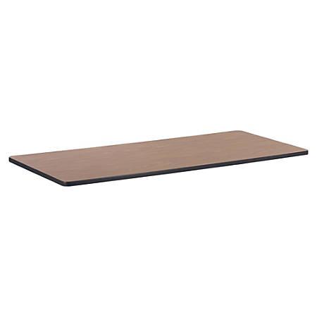 "Lorell® Classroom Rectangular Activity Table Top, 72""W x 30""D, Medium Oak/Black"
