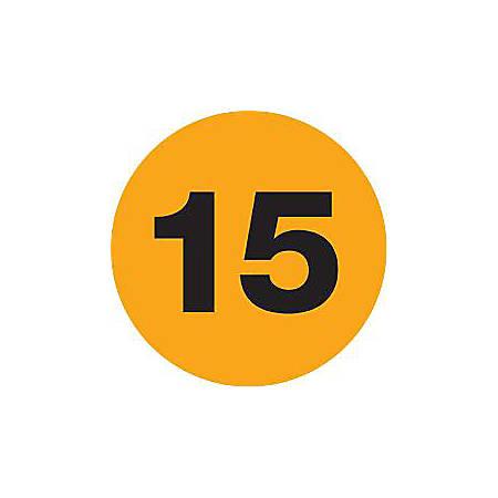 """Tape Logic® Fluorescent Orange - """"15"""" Number Labels 2"""", DL6785, Roll of 500"""