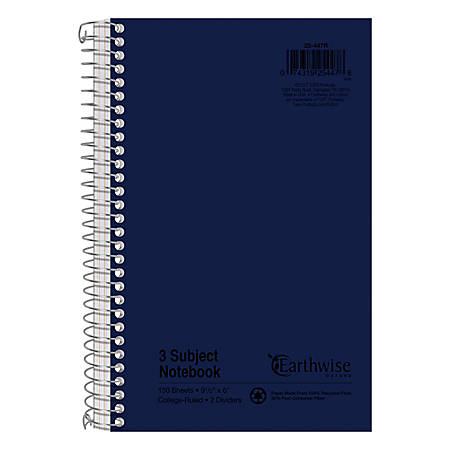"Oxford 3-subject Small Wirebound Notebook - 150 Sheets - Spiral - 15 lb Basis Weight - 6"" x 9 1/2"" - White Paper - Assorted Cover - Kraft Cover - Subject - Recycled - 1Each"
