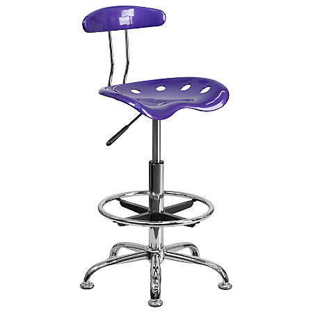 Flash Furniture Vibrant Drafting Stool, Violet/Chrome