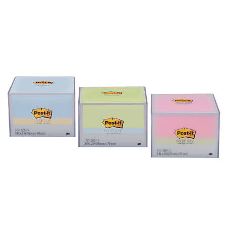 """Post-it® Notes Memo Cubes, 3"""" x 3"""", Blue/Green/Pink/White, Pack Of 1 Cube"""