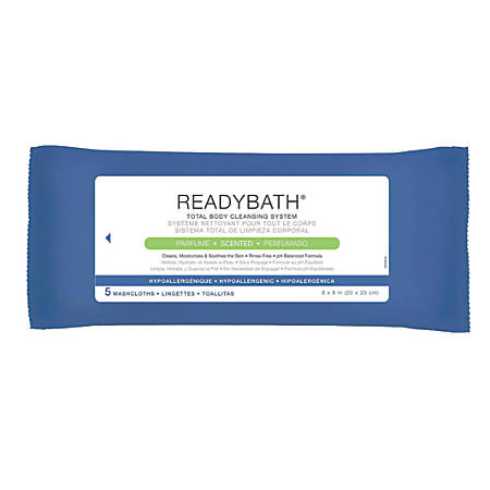 """ReadyBath Complete Scented Washcloths, 8"""" x 8"""", White, Pack Of 5 Washcloths, Case Of 30 Packs"""