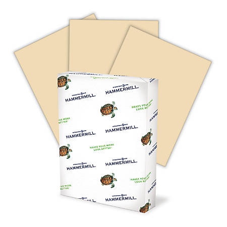 "Hammermill® Fore Colors Multi-Use Paper, Letter Size (8 1/2"" x 11""), 20 Lb, 30% Recycled, Tan, Ream Of 500 Sheets"