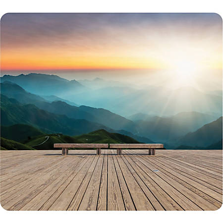 """Fellowes Recycled Mouse Pad - Mountain Sunrise - Mountain Sunrise - 8"""" x 9"""" x 0.1"""" Dimension - Multicolor - Rubber Base - Slip Resistant, Scratch Resistant, Skid Proof"""