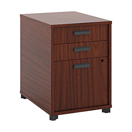 "basyx by HON® Manage Series Laminate Lateral Freestanding Pedestal, 3-Drawer, Letter-Size, 22""H x 15 4/5""W x 21""D, Chestnut"