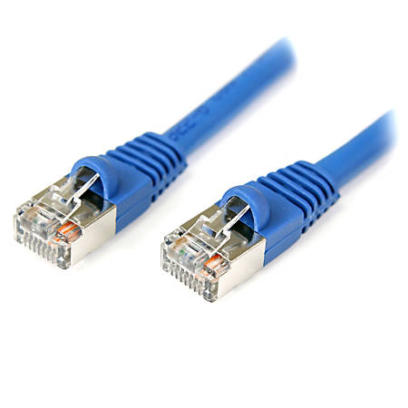 StarTech.com 50 ft Blue Shielded Snagless Cat5e Patch Cable - Category 5e - 50 ft - 1 x RJ-45 Male - 1 x RJ-45 Male - Blue