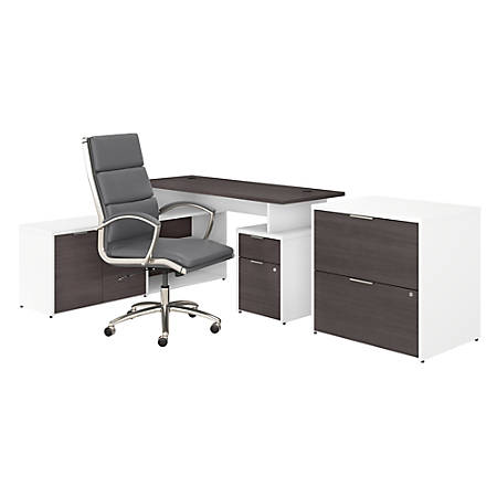 "Bush Business Furniture Jamestown 60""W L-Shaped Desk With Lateral File Cabinet And High-Back Office Chair, Storm Gray/White, Standard Delivery"