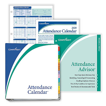 """ComplyRight™ 2020 Attendance Calendar Kit, 8 1/2"""" x 11"""", White, Pack Of 25"""