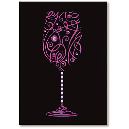 "Viabella Birthday Greeting Card With Envelope, Wine Glass, 5"" x 7"""